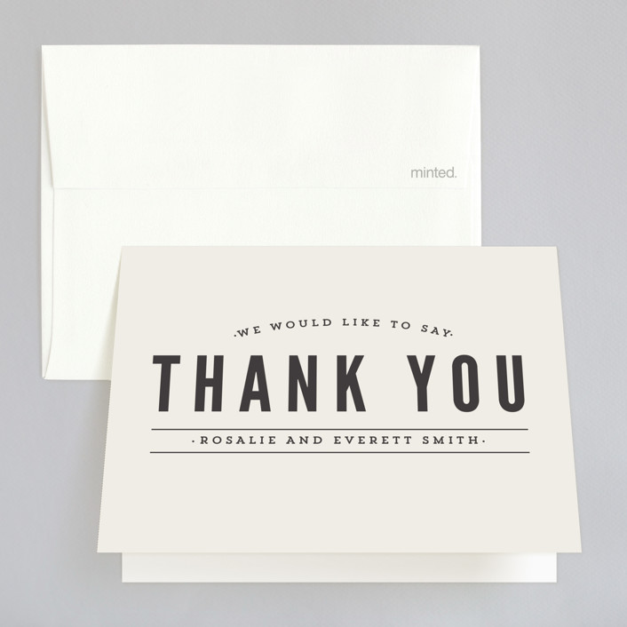 """""""Classic Type"""" - Simple, Modern Thank You Cards in Mocha by Pistols."""