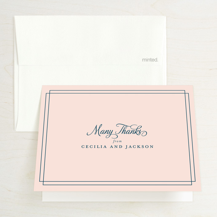 """""""Chic Gala"""" - Classical, Elegant Thank You Cards in Cotton Candy by Kimberly FitzSimons."""