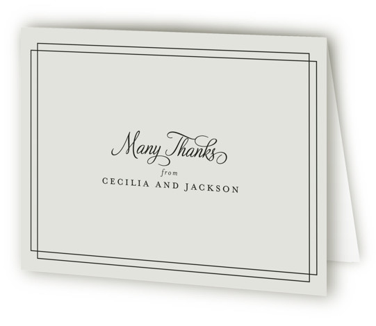 This is a landscape classical, elegant, formal, traditional, grey Wedding Thank You Cards by Kimberly FitzSimons called Chic Gala with Standard printing on Standard Cover in Card fold over (blank inside) format. A traditional wedding invitation with clean typography that ...