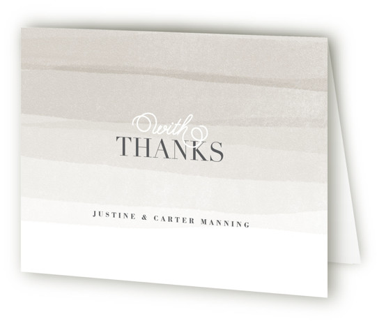 This is a landscape beach, elegant, painterly, grey Wedding Thank You Cards by Jennifer Wick called Old Post Road with Standard printing on Standard Cover in Card fold over (blank inside) format. Ombre painted stripes evoke the feeling of the ...