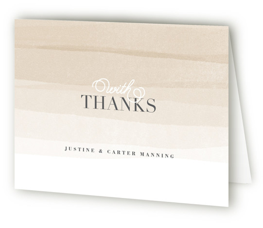 This is a landscape beach, elegant, painterly, brown Wedding Thank You Cards by Jennifer Wick called Old Post Road with Standard printing on Standard Cover in Card fold over (blank inside) format. Ombre painted stripes evoke the feeling of the ...