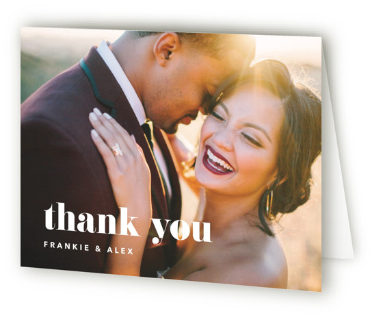 This is a bold and typographic, simple and minimalist, black and white Wedding Thank You Cards by JoAnn Jinks called Letters with Standard printing on Standard Cover in Card fold over (blank inside) format. This design invites your loved ones ...