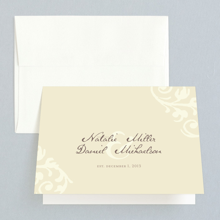 """""""Elegant Flourish"""" - Vintage Thank You Cards in Pale Yellow by Guess What Design Studio."""