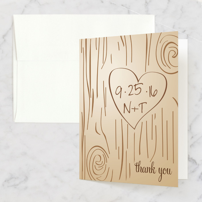 """""""Fall Carving"""" - Monogrammed, Rustic Thank You Cards in Woodgrain by Amanda Joy."""