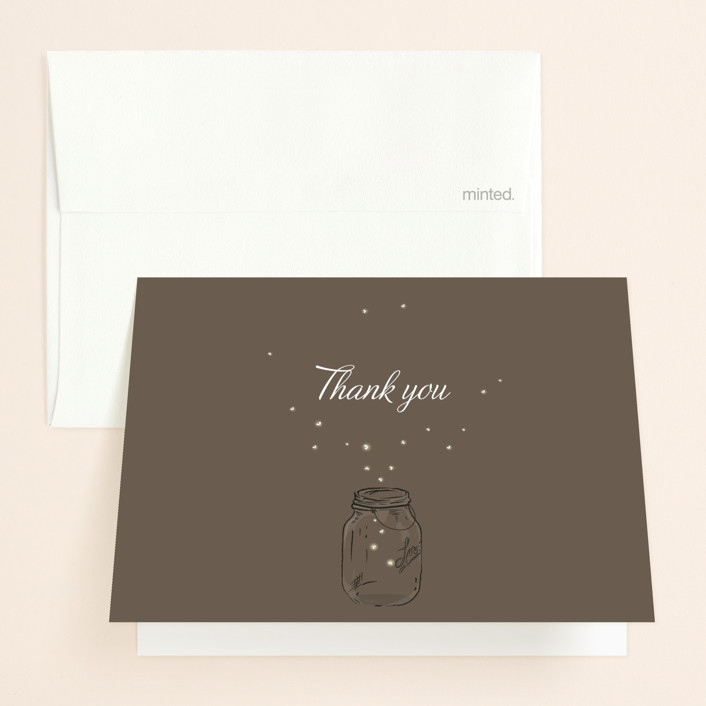 """""""Fireflies"""" - Folded Thank You Card in Zuni Brown by Paige Rothhaar."""