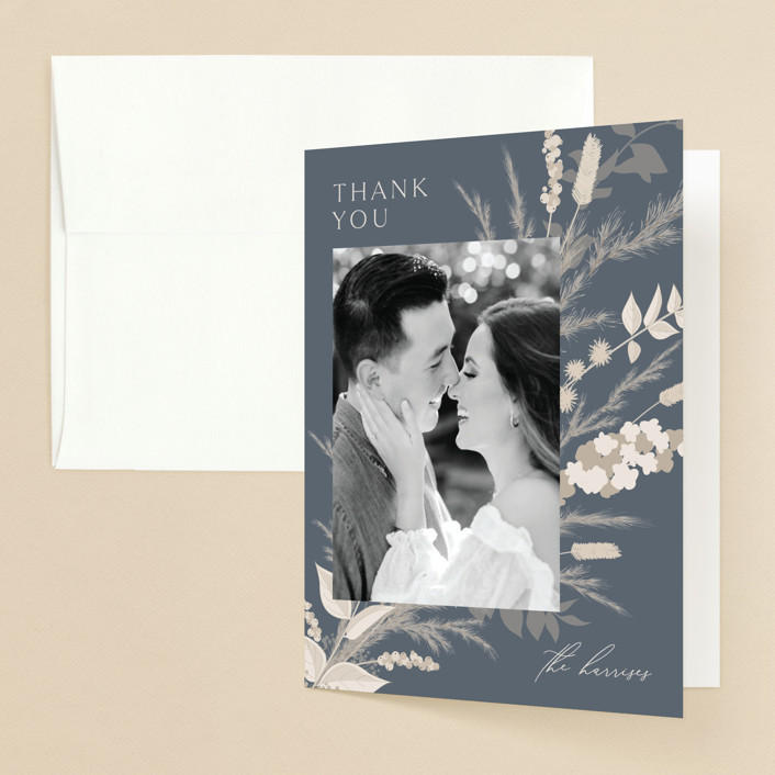 """""""Winter White Botanicals"""" - Bohemian Folded Thank You Card in Slate by Erin Deegan."""