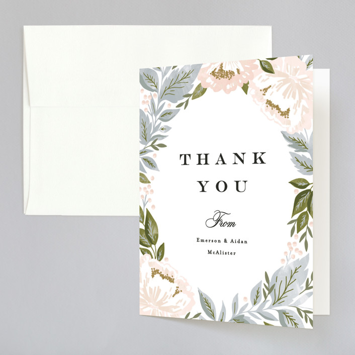 """""""Peony Floral Frame"""" - Folded Thank You Card in Cornflower by Alethea and Ruth."""
