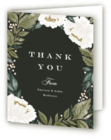 This is a black wedding thank you card by Alethea and Ruth called Peony Floral Frame with standard printing on strathmore in standard.