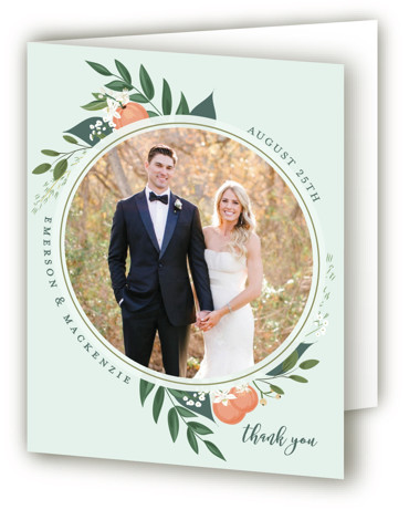 This is a blue, green Wedding Thank You Cards by Susan Moyal called Orange Blossoms with Standard printing on Standard Cover in Card fold over (blank inside) format. This Save the date features some pretty greenery, berries and fresh orange ...