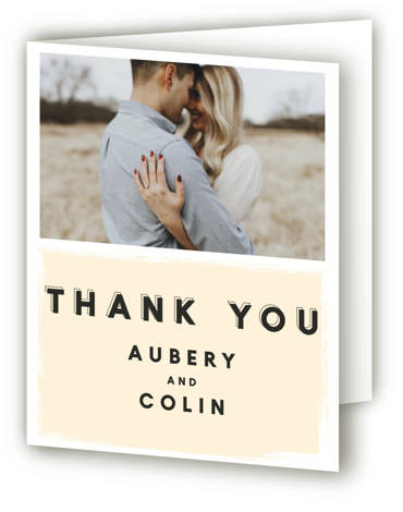 This is a portrait bold and typographic, classic and formal, yellow Wedding Thank You Cards by frances called bold blush with Standard printing on Standard Cover in Card fold over (blank inside) format. Features bold typography and painterly strokes for ...