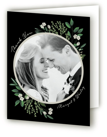 This is a botanical, black Wedding Thank You Cards by Kaydi Bishop called Watermark with Standard printing on Standard Cover in Card fold over (blank inside) format. A dramatic sweeping bouquet of hand drawn botanicals in a neutral color palette ...