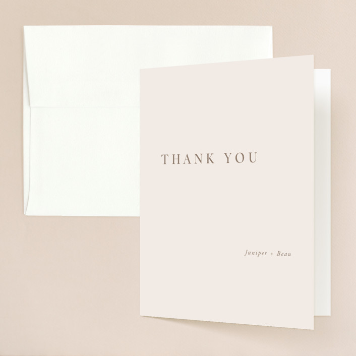 """Juniper"" - Folded Thank You Card in Blush by Mere Paper."