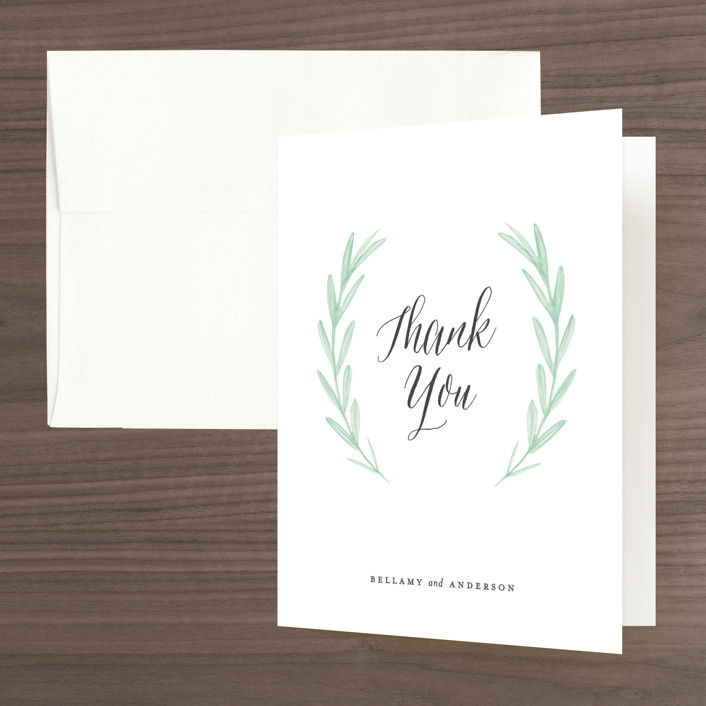 """Painted Leaves"" - Folded Thank You Card in Evergreen by Olivia Raufman."