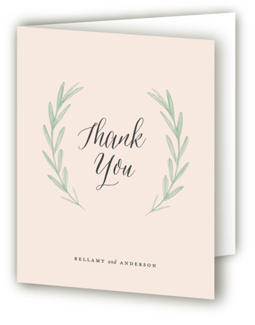 This is a portrait botanical, grey, pink, green Wedding Thank You Cards by Olivia Raufman called Painted Leaves with Standard printing on Standard Cover in Card fold over (blank inside) format. A clean, organic invitation with watercolor leaves and classic ...