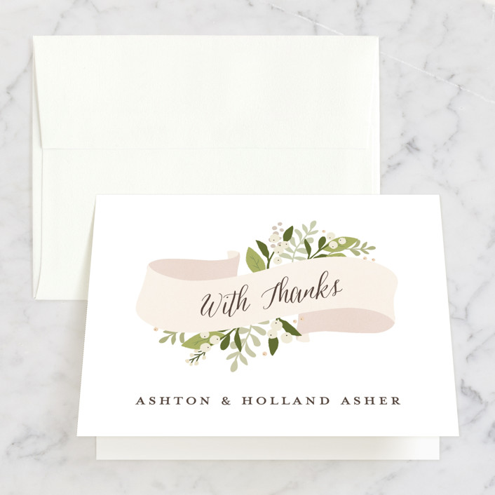 """""""Ribbonly"""" - Rustic, Floral & Botanical Thank You Cards in Blush by Jennifer Wick."""