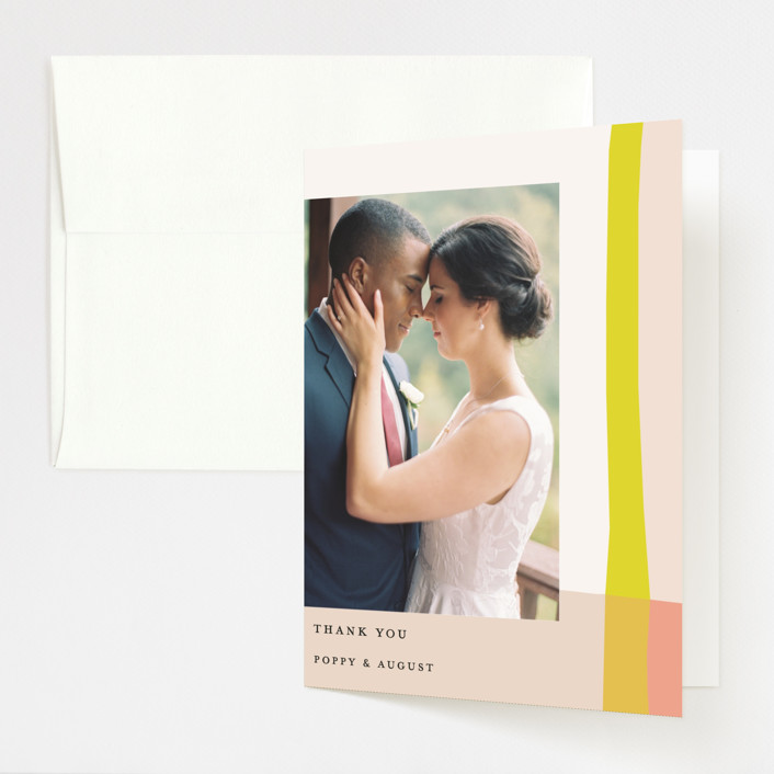 """Color Block"" - Modern Folded Thank You Card in Blush by Morgan Kendall."