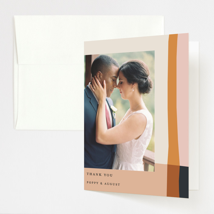 """""""Color Block"""" - Modern Folded Thank You Card in Peach by Morgan Kendall."""