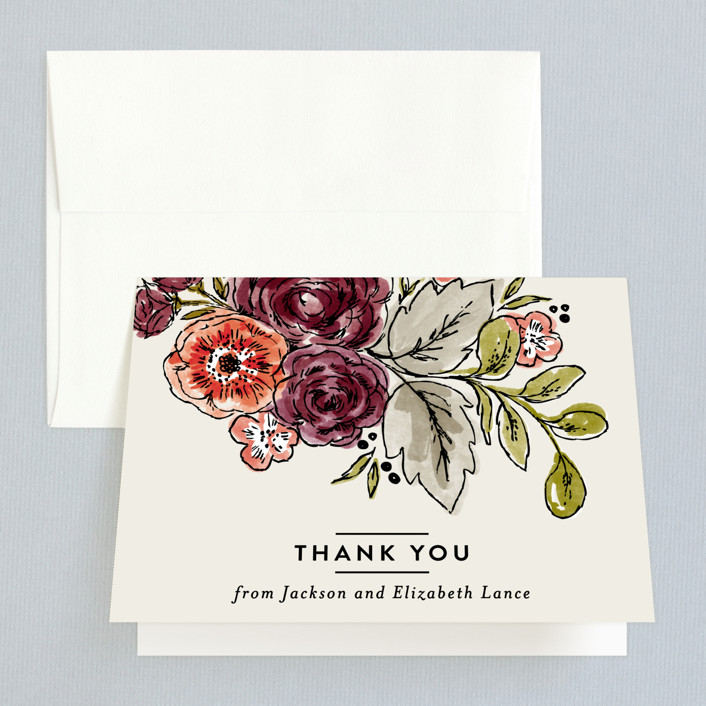 """Dahlia Bouquet"" - Thank You Cards in Wine by Alethea and Ruth."