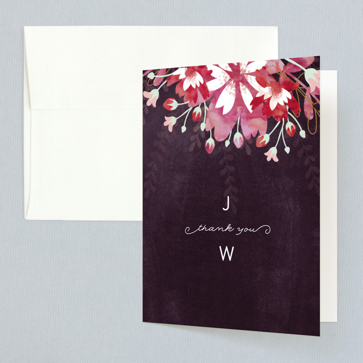 """Enchanting Plum"" - Floral & Botanical Thank You Cards in Deep Plum by Phrosne Ras."
