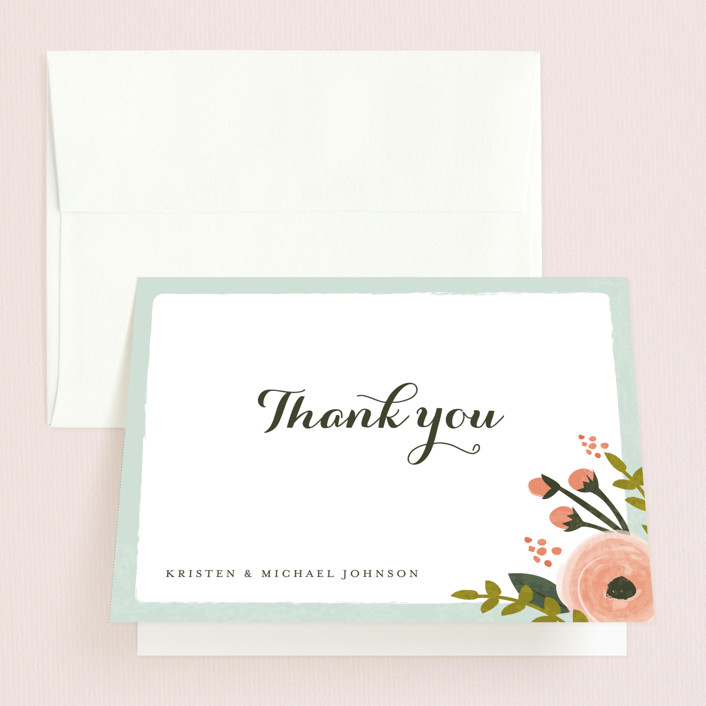 """English Floral Garden"" - Floral & Botanical Thank You Cards in Peony by Karidy Walker."
