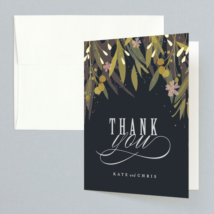 """Floral Crown"" - Rustic Thank You Cards in Navy by Lori Wemple."