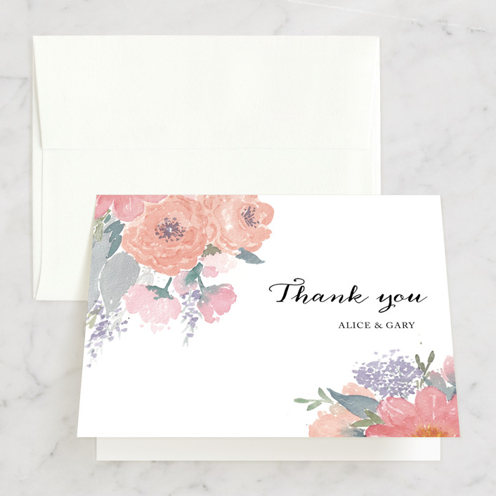 """""""fresh watercolor floral"""" - Floral & Botanical Thank You Cards in Peach by Qing Ji."""
