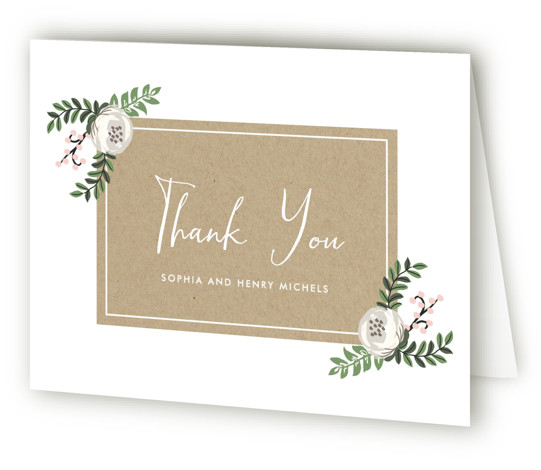 This is a landscape botanical, pink Wedding Thank You Cards by Lehan Veenker called Krafted Florals with Standard printing on Standard Cover in Card fold over (blank inside) format. A wedding invitation featuring pretty florals and kraft texture.