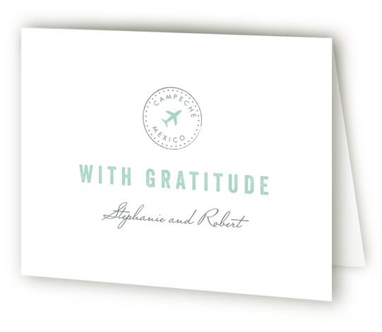 This is a landscape bold and typographic, green Wedding Thank You Cards by Sarah Curry called Passport with Standard printing on Standard Cover in Card fold over (blank inside) format. A customizable destination wedding invitation, perfect for tropical or beach ...