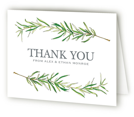 This is a landscape botanical, illustrative, rustic, green Wedding Thank You Cards by Erin Deegan called Simple Sprigs with Standard printing on Standard Cover in Card fold over (blank inside) format. Simple and traditional wedding invitation featuring sprigs of rosemary. ...