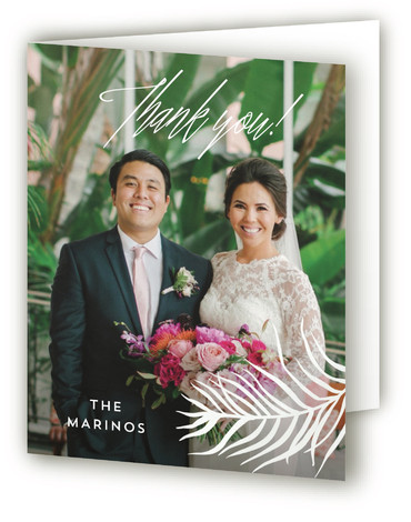 This is a botanical, green Wedding Thank You Cards by Pink House Press called Destination with Standard printing on Standard Cover in Card fold over (blank inside) format. With watercolor palms surrounding modern type, this wedding invitation would be perfect ...