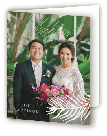This is a botanical, beige, green Wedding Thank You Cards by Pink House Press called Destination with Standard printing on Standard Cover in Card fold over (blank inside) format. With watercolor palms surrounding modern type, this wedding invitation would be ...