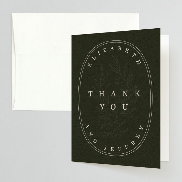 """""""delicate seal"""" - Bohemian, Modern Folded Thank You Card in Olive by Lindsay Stetson Thompson."""