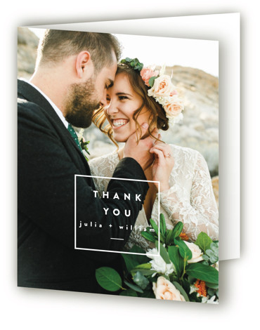 This is a botanical, blue Wedding Thank You Cards by Ariel Rutland called Leaf Arc with Standard printing on Standard Cover in Card fold over (blank inside) format. Elegant design with natural branch accents