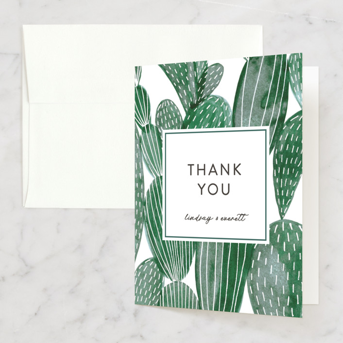 """Painted Cacti"" - Destination Thank You Cards in Cactus by Olivia Raufman."
