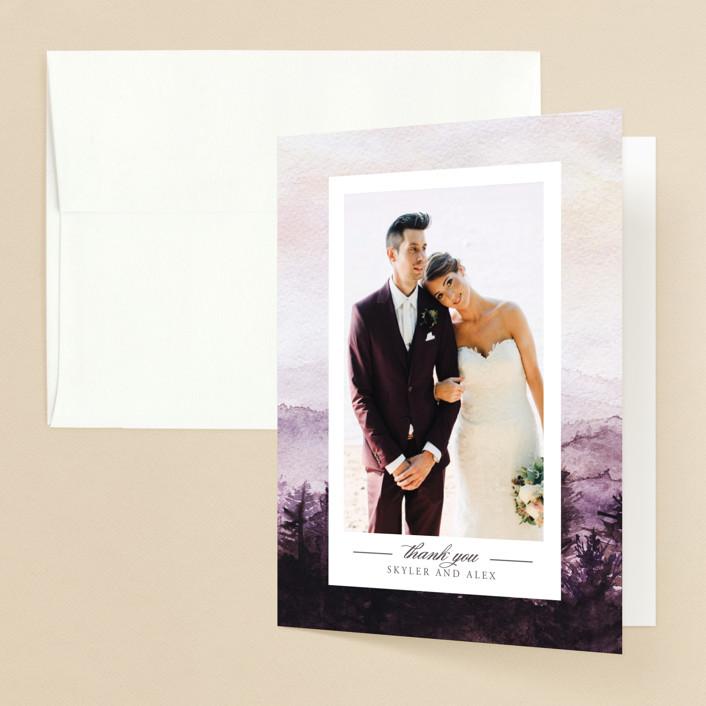 """mountain wedding"" - Destination Folded Thank You Card in Sunrise by Anastasia Makarova."