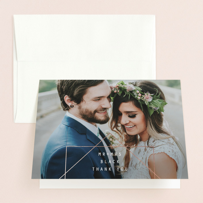 """""""BOLD AS LOVE"""" - Modern Folded Thank You Card in Noir by DESIGN X FIVE."""