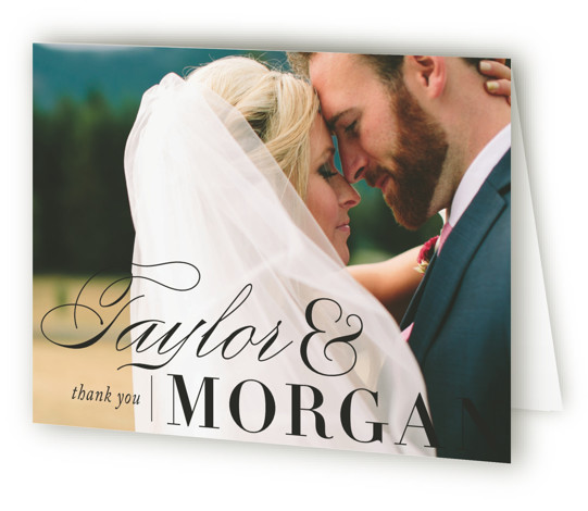 This is a landscape bold and typographic, classic and formal, preppy, white, pink Wedding Thank You Cards by Alston Wise called Darling and Dashing with Standard printing on Standard Cover in Card fold over (blank inside) format. Echoing the personality ...