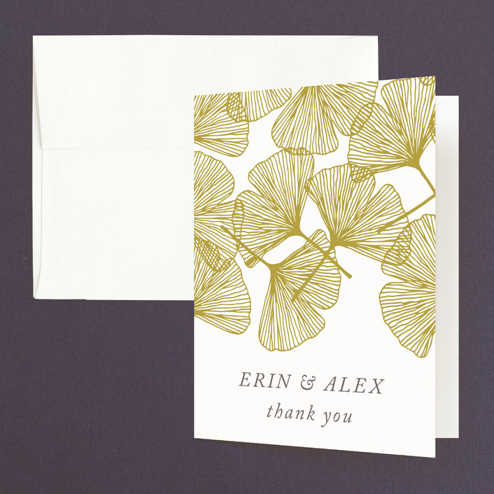 """Falling Ginkgo"" - Bohemian Thank You Cards in Mustard by Katharine Watson."