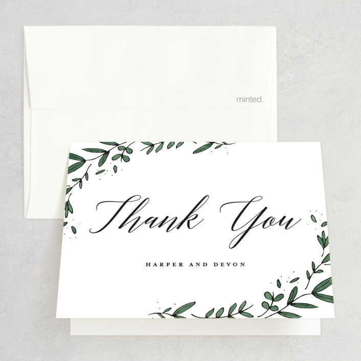 """Floral Wreath"" - Folded Thank You Card in Fresh by Kelly Schmidt."
