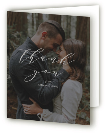 This is a portrait grey Wedding Thank You Cards by Amy Payne called Picture Perfect with Standard printing on Standard Cover in Card fold over (blank inside) format. This wedding invitation features classic typography over a photo.