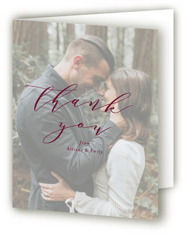 This is a portrait bold and typographic, red Wedding Thank You Cards by Amy Payne called Picture Perfect with Standard printing on Standard Cover in Card fold over (blank inside) format. This wedding invitation features classic typography over a photo. ...