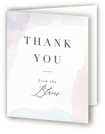 This is a portrait classic and formal, painterly, blue, purple Wedding Thank You Cards by Everett Paper Goods called Sloped with Standard printing on Standard Cover in Card fold over (blank inside) format. A subtly pained frame with sloped calligraphy ...