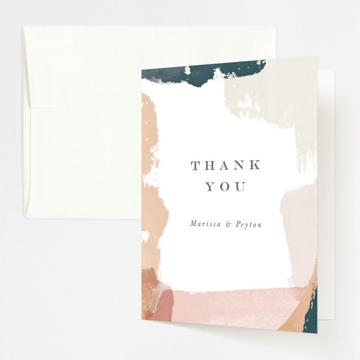 """""""Overlapping"""" - Modern Folded Thank You Card in Blush by Jennifer Wick."""