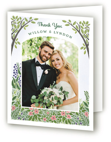 This is a portrait illustrative, rustic, green Wedding Thank You Cards by Paper Sun Studio called Nature's Chapel with Standard printing on Standard Cover in Card fold over (blank inside) format. A cathedral canopy of trees with wildflowers.
