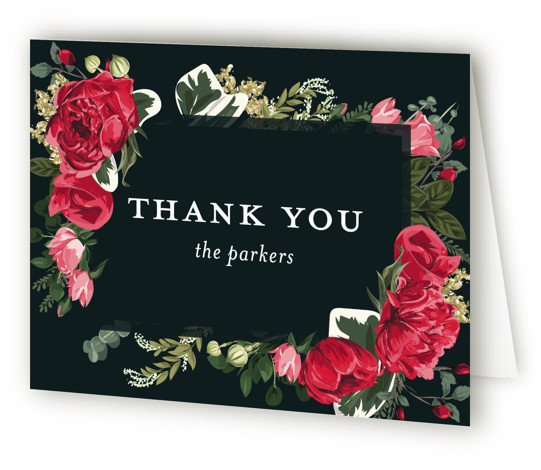 This is a landscape green, red Wedding Thank You Cards by Susan Moyal called Peonies Forever with Standard printing on Standard Cover in Card fold over (blank inside) format. A hand drawn frame of detailed peonies and greenery