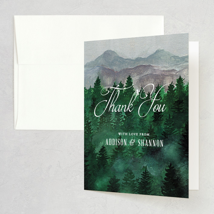 """Adventure Awaits"" - Rustic Folded Thank You Card in Smoke by Elly."