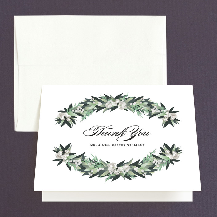 """Wall Flower"" - Thank You Cards in Greenery by Jennifer Postorino."