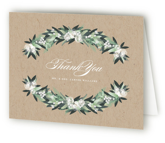 This is a botanical, brown, green Wedding Thank You Cards by Jennifer Postorino called Wall Flower with Standard printing on Standard Cover in Card fold over (blank inside) format. This beautiful wedding invitation features hand drawn garland arched over elegant ...