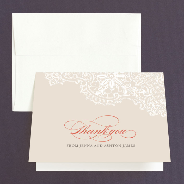 """""""White Lace"""" - Thank You Cards in Coral Rose by Lauren Chism."""