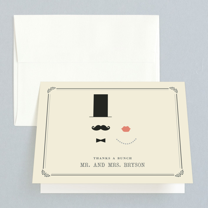 """""""Stache + Kiss"""" - Whimsical & Funny Thank You Cards in Creme by Penelope Poppy."""